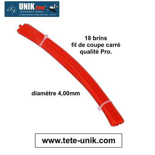 Fagot fil carré Qualité Pro 4,00mm (18 brins) UNIK new