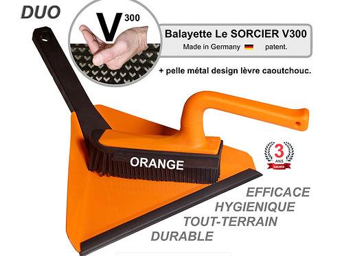 DUO Balayette V300 + pelle design Balai SORCIER Picot V. Orange