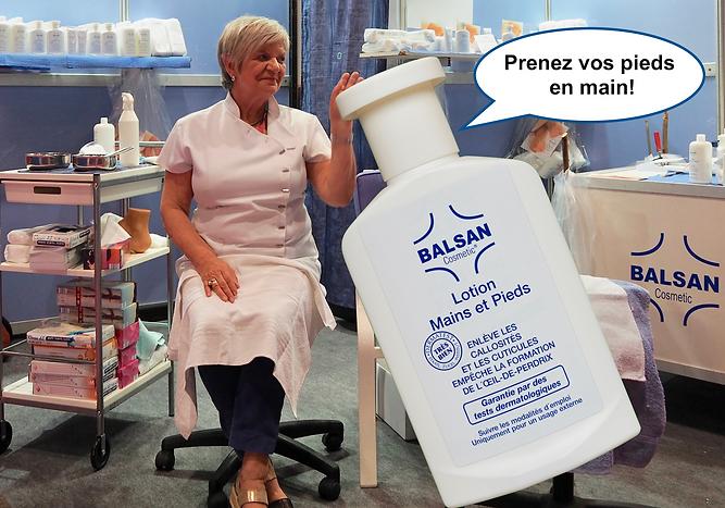 Acheter Balsan lotion pieds et mains au meilleur prix. Démonstration Foire de Lyon . Promotion BALSAN pieds et mains