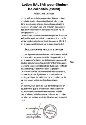 Extrait du rapport Dermatest® pour BALSAN Lotion