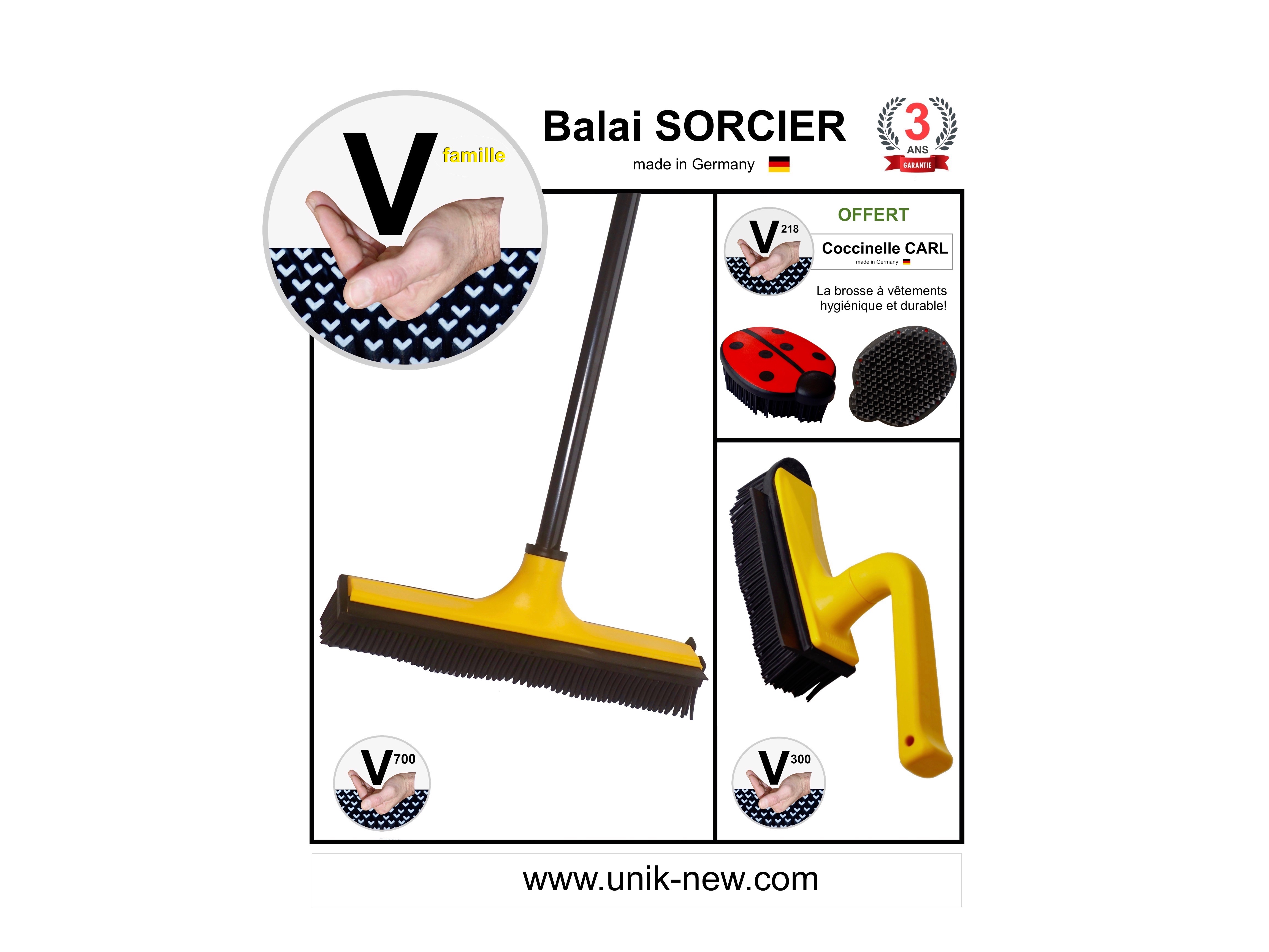 Balai picot SORCIER. Promo Balai picots Kit V famille jaune. UNIK NEW sasu