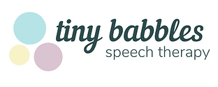 Logo with the words: Tiny Babbles Speech Therapy. Three circles, one blue, one pink, and one yellow.