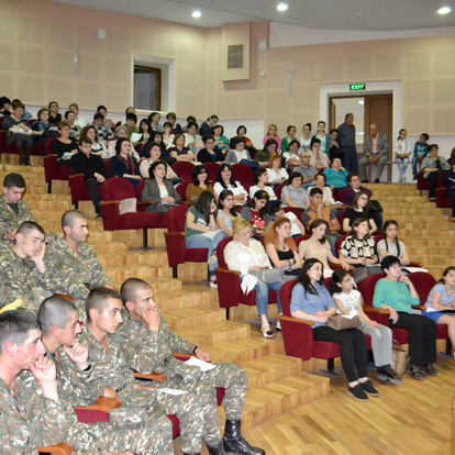 In concert with Armenian soldiers in the audience  (Stepanakart, Nagorno-Karabagh, 2017)