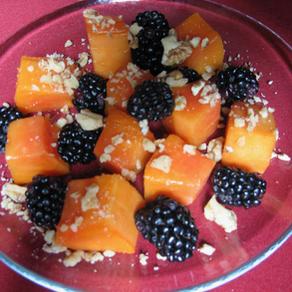 Papaya with Blackberries