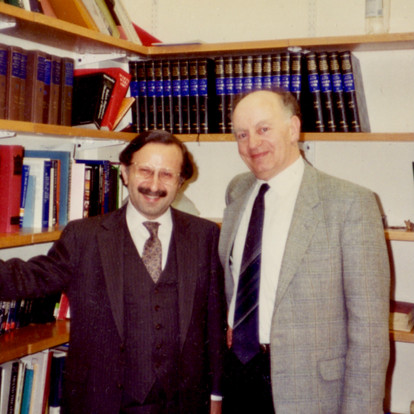 Posing with Stanley Sadie, the editor-in-chief of New Grove Dictionary  (London, UK, 1988)