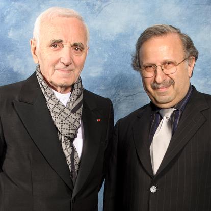 Posing with chanteur Charles Aznavour  (New York, USA, 2011)