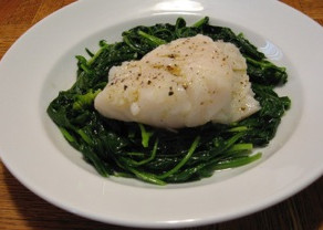 Steamed Cod with Spinach