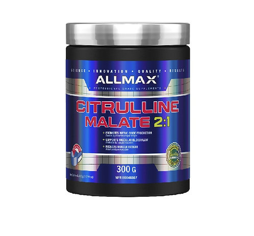 allmax 300g citrulline malate promotes nitric oxide production and blood flow