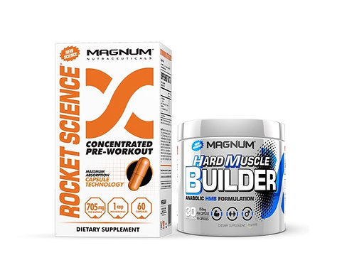 magnum nutraceuticals hmb formula hard muscle builder with free rocket science 60 capsule pre-workout