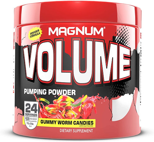 magnum nutraceuticals 24 servings gummy worm candies volume pumping powder non-stimulant pre-workout