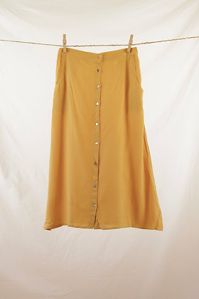 Mustard yellow button-front midi skirt