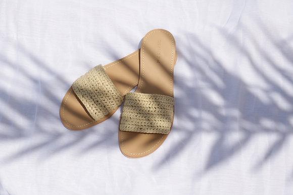 Natural raffia slide sandal