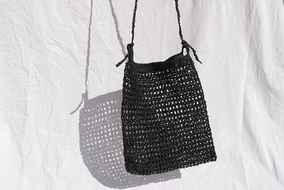 Black raffia bag