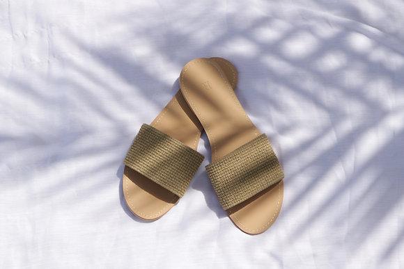 knitted slide sandal
