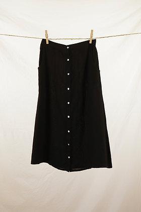 Black button-front midi skirt