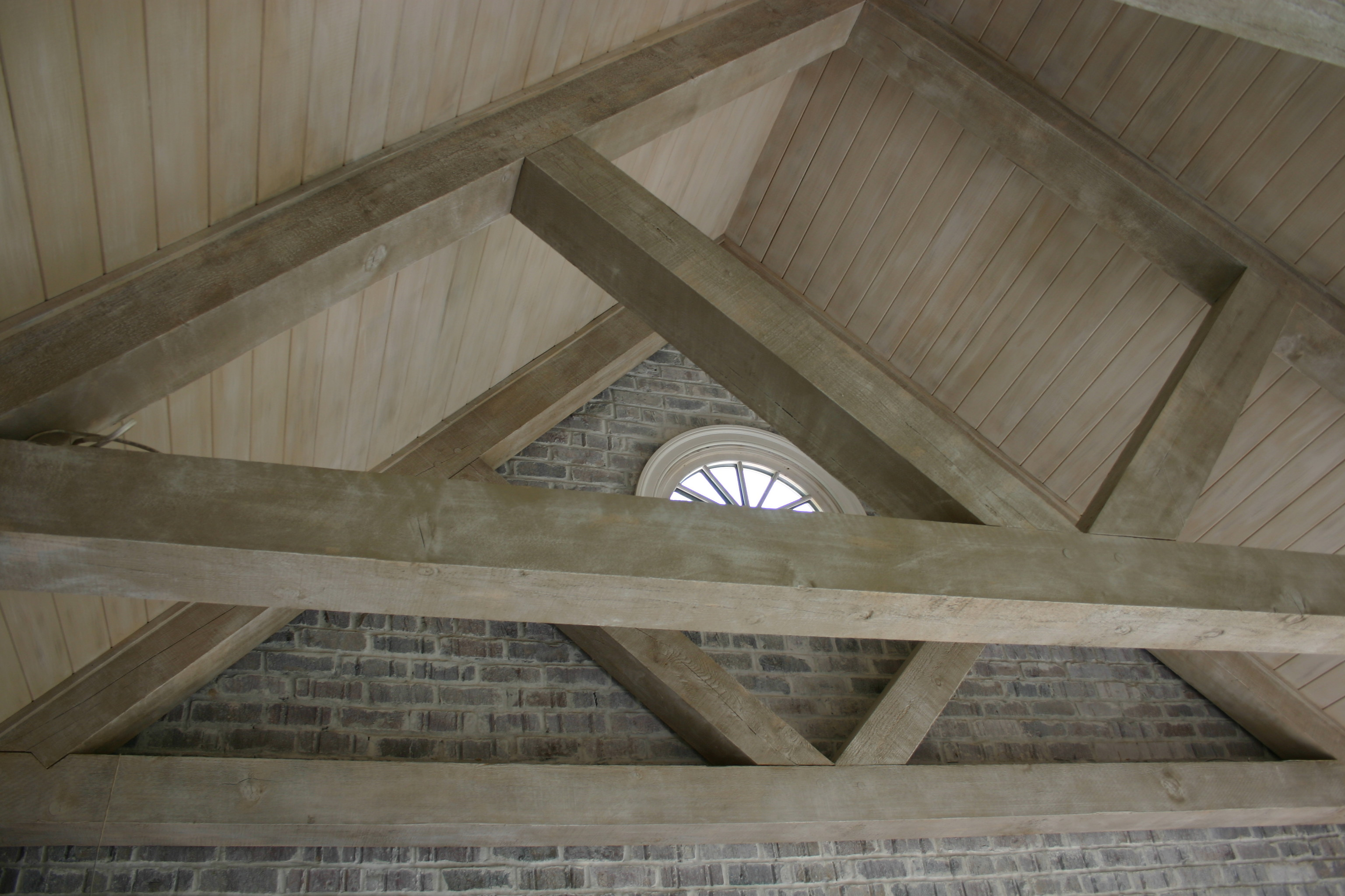 Limewashed beams and ceiling