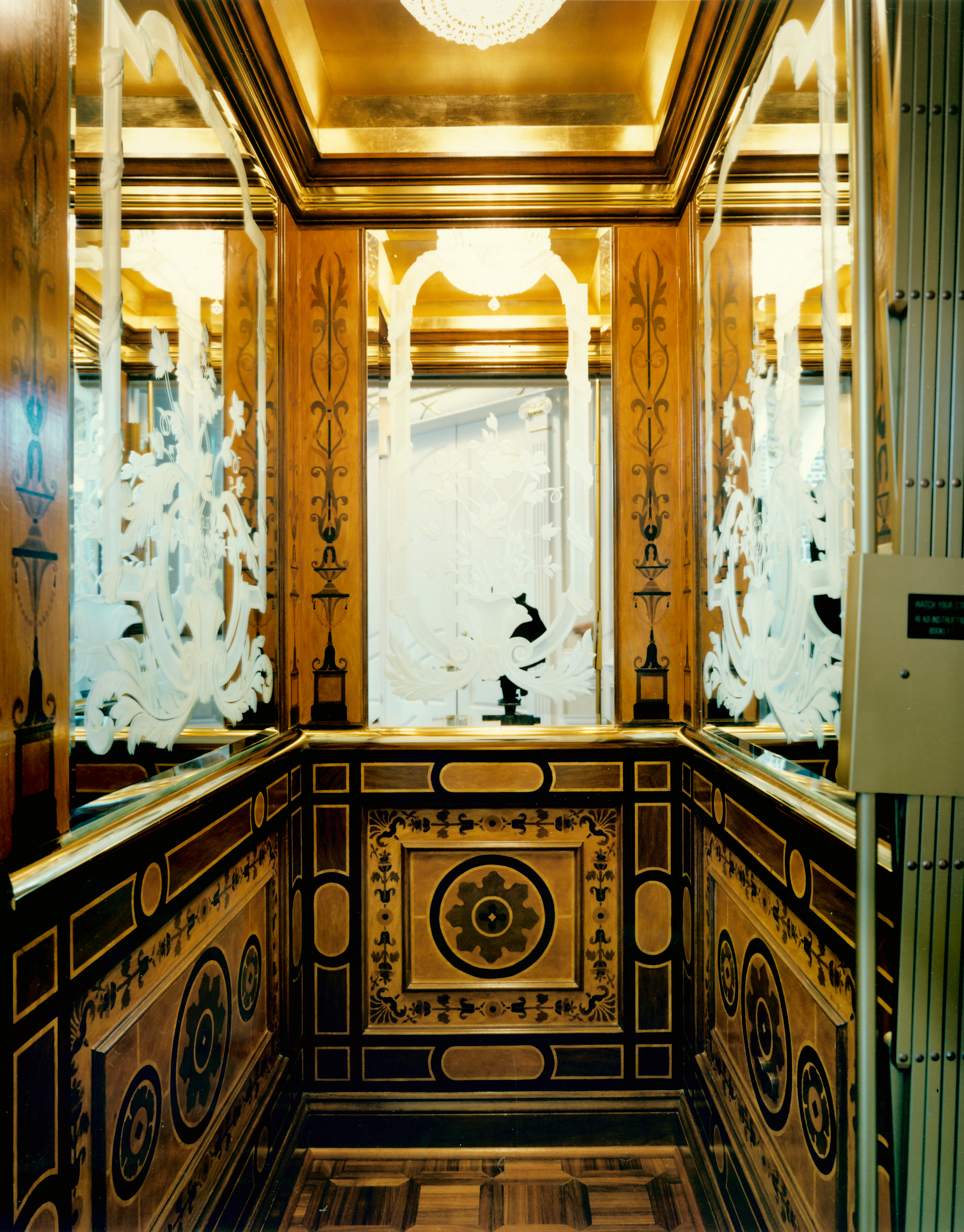 Faux marquetry elevator