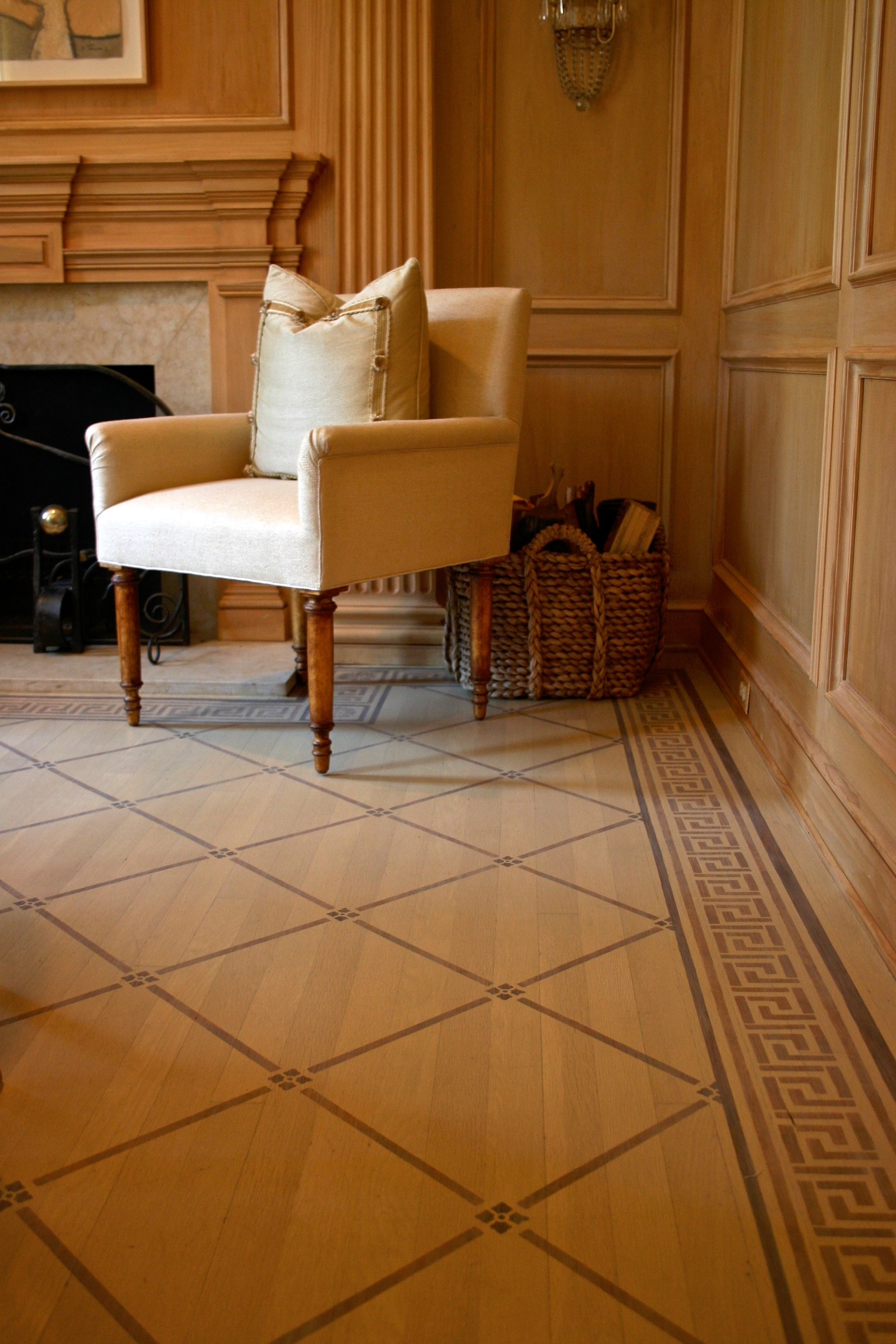 Stencilled floor with border