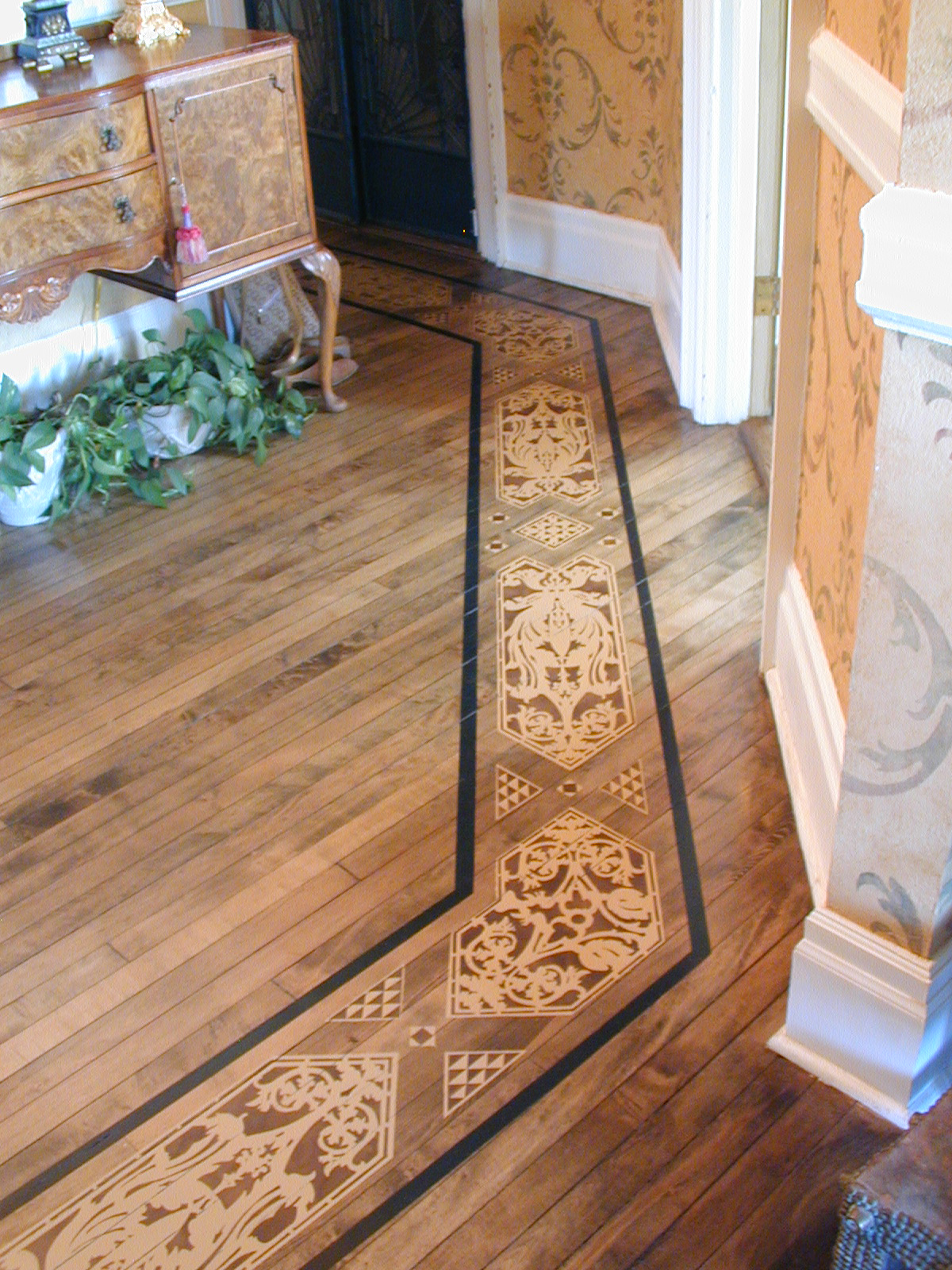 Stencilled floor and walls