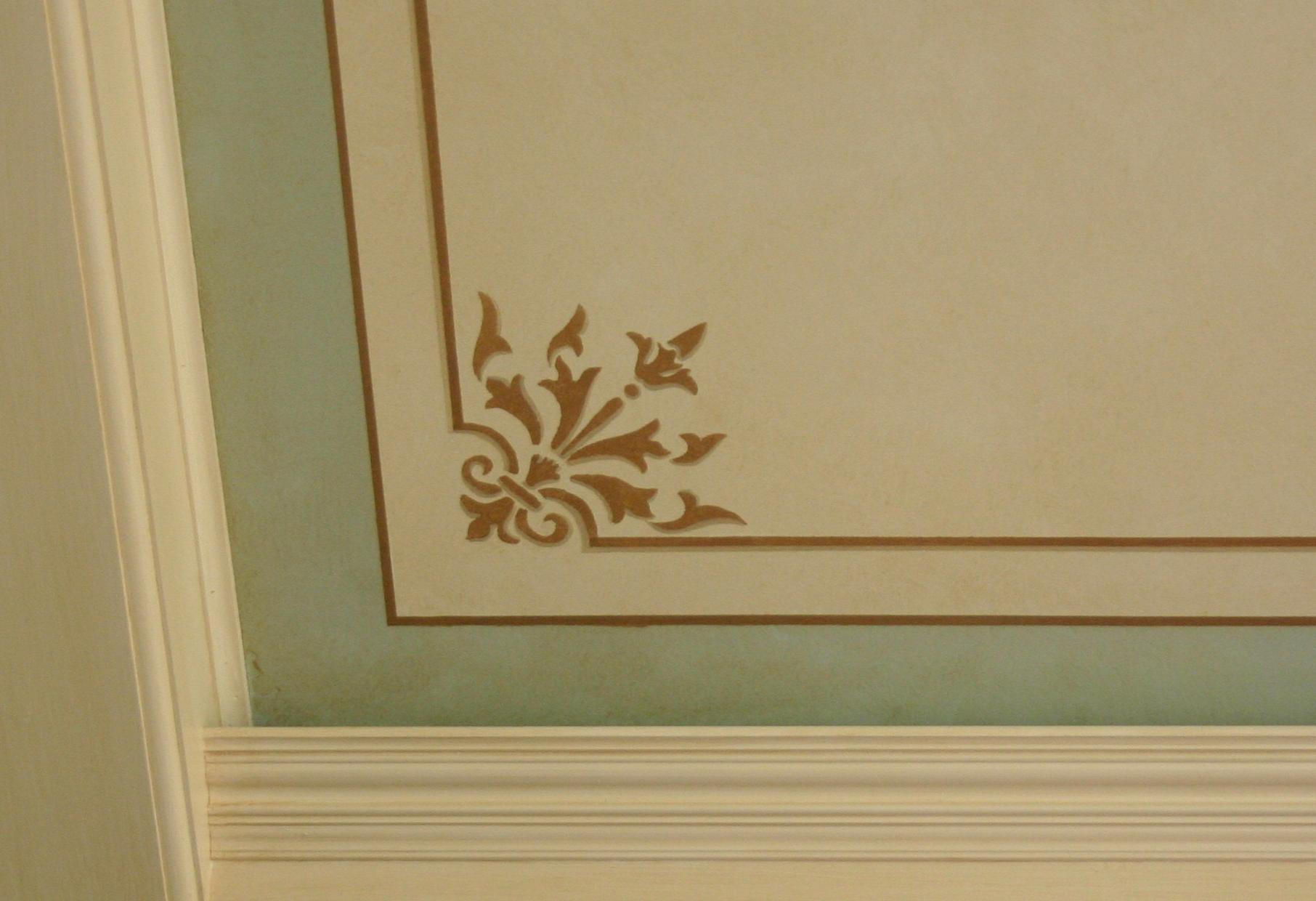 Corner stencil and stripe