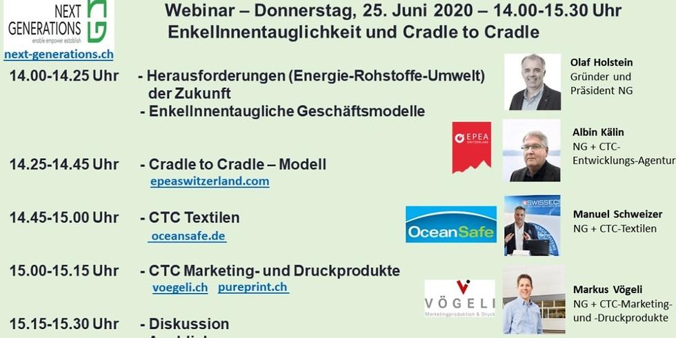 Webinar - EnkelInnentauglichkeit und Cradle to Cradle - Do 25.6.20 - 14.00-15.30 Uhr
