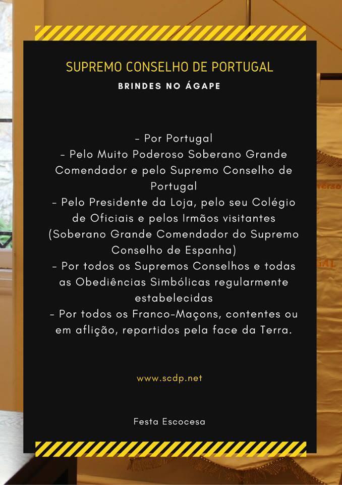 Supremo Conselho de Portugal | Festa Escocesa | Ano: 2018 | Brindes Maçónicos