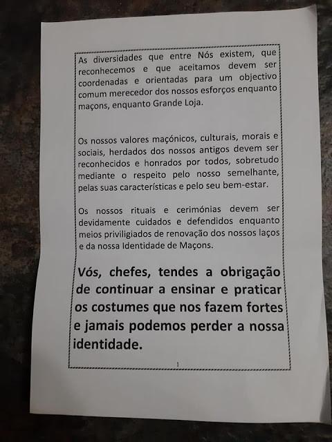 Documento Histórico de 1996 - Grande Loja Antigos Livres Aceites Maçons Portugal