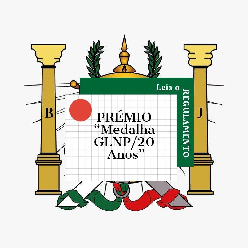 """Maçonaria - Lembrete - PRÉMIO """"Medalha GLNP/20 Anos"""""""