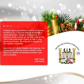Mensagem do Grão-Mestre da Grande Loja Nacional Portuguesa | 21.12.2020