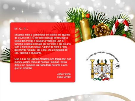 Mensagem do Grão-Mestre da Grande Loja Nacional Portuguesa   21.12.2020