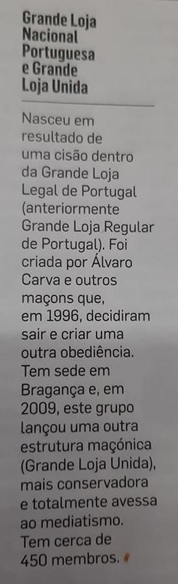 Maçonaria - Grande Loja Nacional Portuguesa e Grande Loja Unida (2009), na Revista Visão