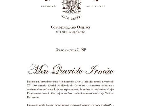 Os 20 Anos da Grande Loja Nacional Portuguesa   Mensagem do XIII Grão-Mestre