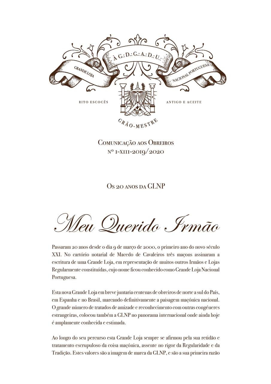 Os 20 Anos da Grande Loja Nacional Portuguesa | Mensagem do XIII Grão-Mestre