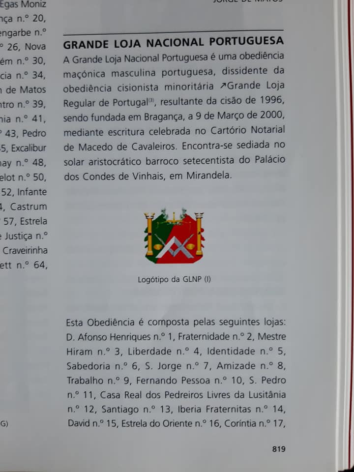 Grande Loja Nacional Portuguesa no DICIONÁRIO HISTÓRICO das ORDENS e Instituições Afins em Portugal