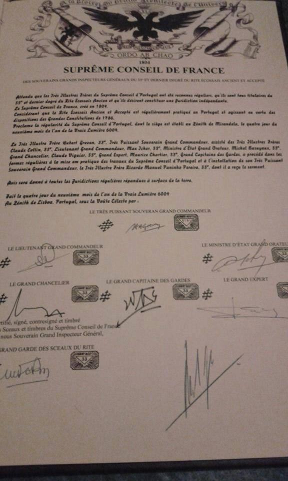 Carta Patente emitida pelo SCdF para a criação e consagração do Supremo Conselho Portugal | 2004