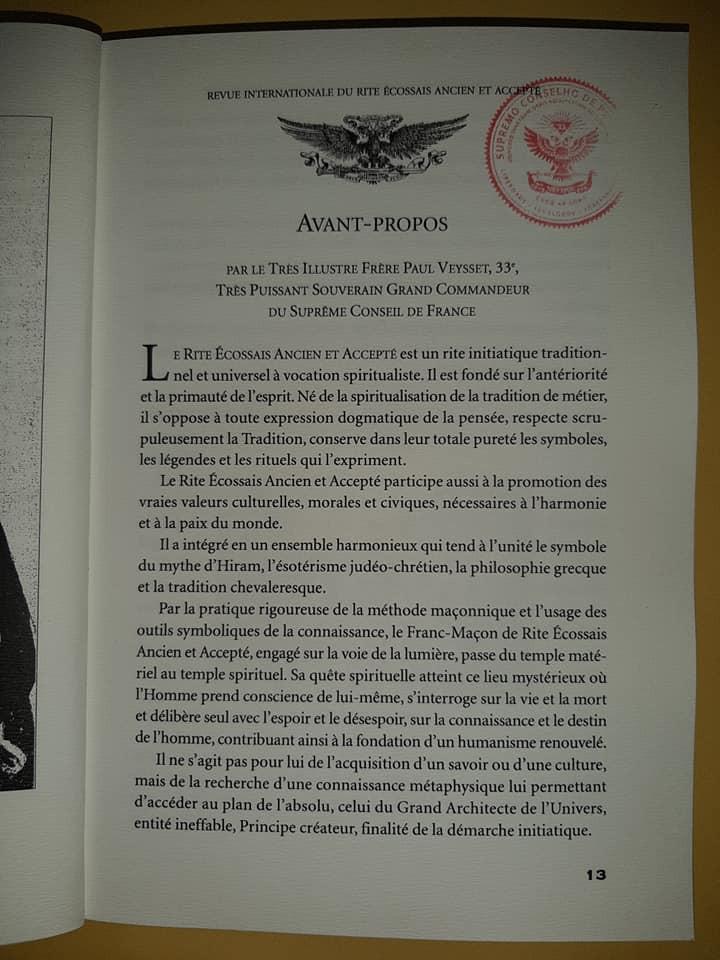 Avant-PROPOS | Grand Commandeur du Suprême Conseil de France | TIF Paul Veysset, 33e