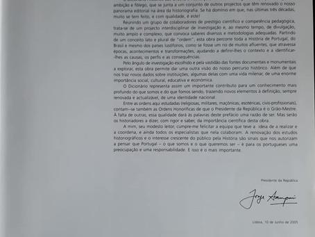 Prefácio do Presidente da República no Dicionário Histórico das Ordens e Afins em Portugal