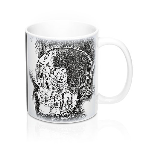 Black and white Crystal Skull Art Mug Between Heaven and Hell Kitchen Decor