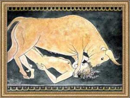 Leggenda di Minosse e la moglie Pasifae innamorata del toro