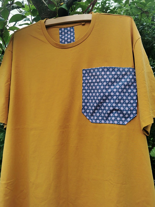 Mustard Tee with Floral Pocket - Size 4XL
