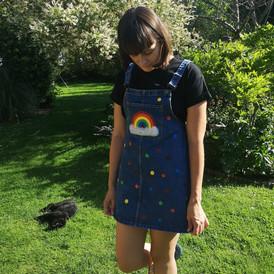 Rainbow polka dot denim dress
