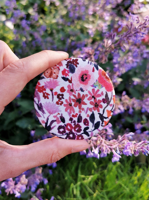 Compact Mirror - Pink Meadow Flowers