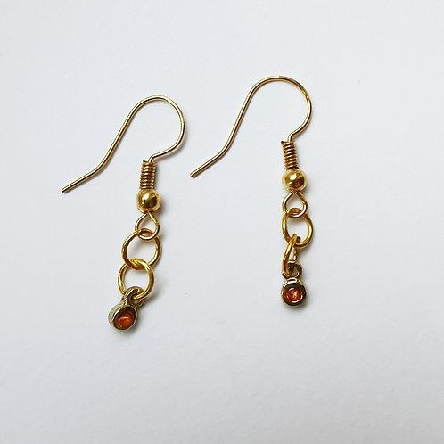 Gold Plated Dangle Earrings - Elegant Amber