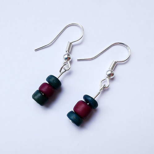 Silver Plated Dangle Earrings - Wooden Teal and Purple