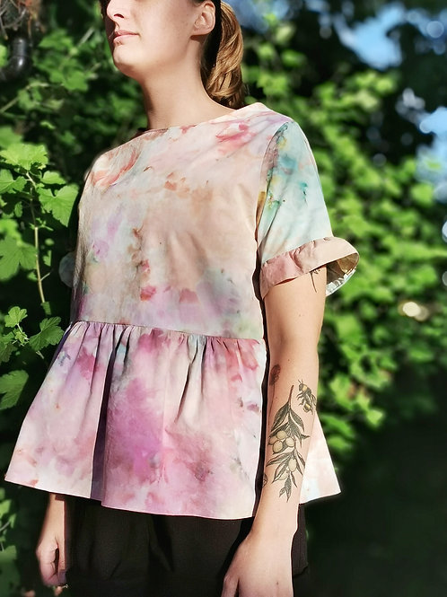"""Ice Dyed Peplum Frill Top - 40"""" bust"""