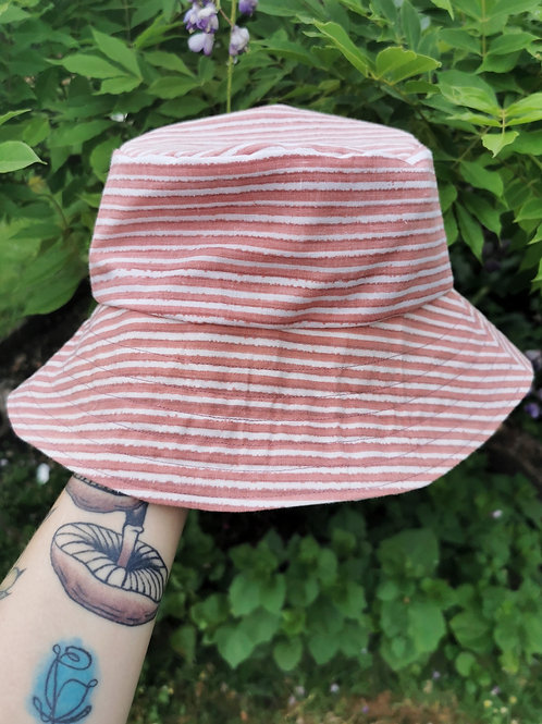 """Pink and Red Striped Reversible Bucket Hat - 21""""-22"""""""