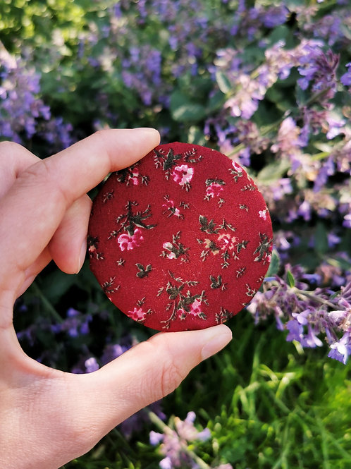 Compact Mirror - Burgundy Floral