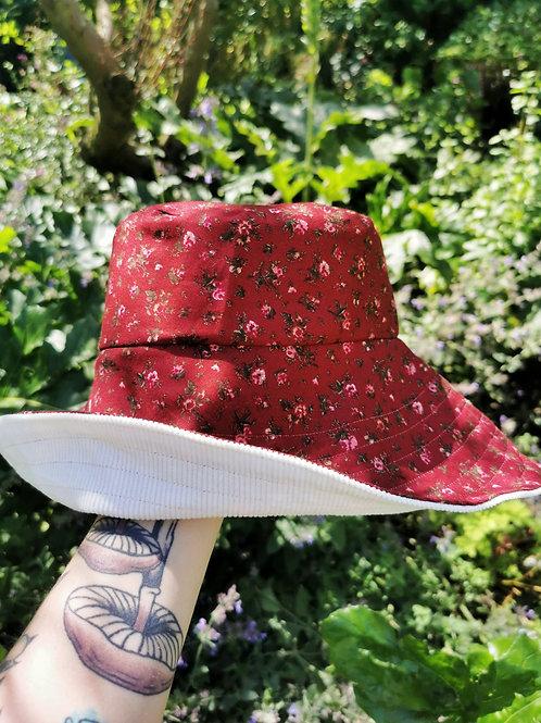 """Burgundy Floral Wide Brimmed Hat - 22""""-23"""""""