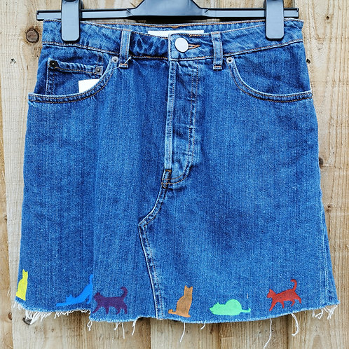 Denim Skirt with Cats