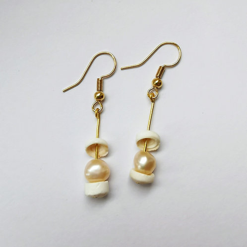 Gold Plated Dangle Earrings - Freshwater Pearl and Puka Shell